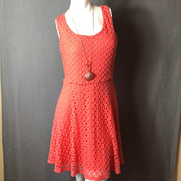 34191453bf44 AUW Dresses | Crochet Coral Dress 6 L | Poshmark
